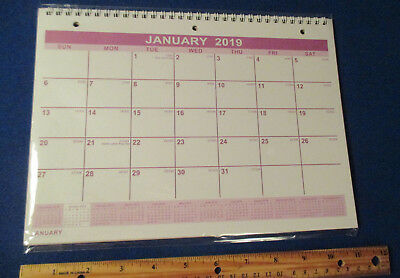 """2019 WALL Spiral HANGING NOTEBOOK 3-Hole MONTHLY 11X8""""  Daily Gregorian PLANNER"""