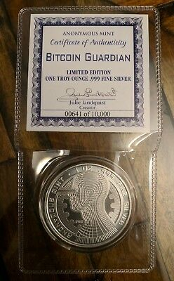 Bitcoin Guardian Commemorative 1 oz .999 Silver Round BU LOW COA 00641⬆️of10000