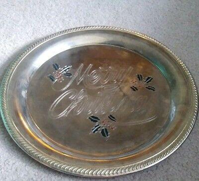 "Vintage Silver Plate Tray ""merry Christmas"" Etched Red/green Enamel Holly Berry"