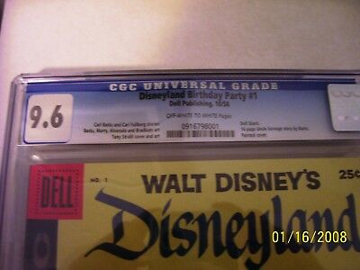Dell Giant Disneyland Birthday Party #1 CGC 9.6, 1 higher. 16 pg story by Barks