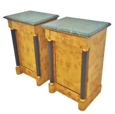 Elegant Pair Maple with black marble top Biedermeier commodes