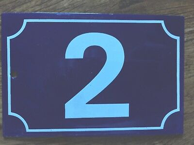 Original French Enamel house number 2 door gate plate plaque steel metal sign