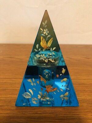 Antique Moser Blue Glass Hand Painted Butterfly Floral Pyramid Inkwell