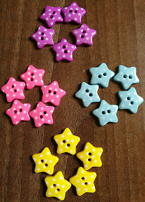 Novelty polka dot star buttons in various colours and quantity size 18mm