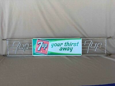 Vintage 7up Seven Up Your Thirst Away Expandable Advertising Soda Door Push Bar