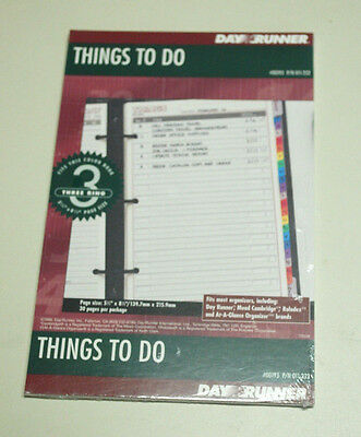 Day-Timer Things To Do Refill Pad 3 Ring 5.5x8.5 011-232