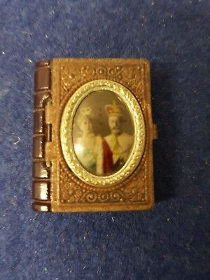 Miniature Edwardian Glass & Metal Book With Pictures Of King Edward Vii & Queen