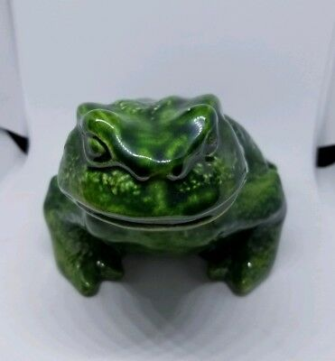 Mid Century Ceramic Toad Frog Fat  Pottery Hand Painted Vintage Frog 8x5 Signed