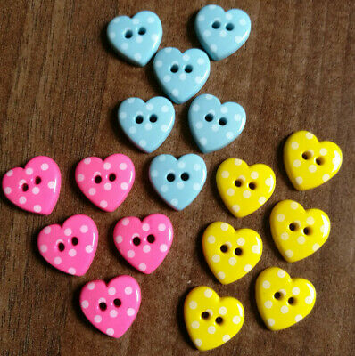 Novelty polka dot Heart buttons in various colours in size 15mm / 24l / 5/8""