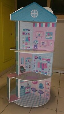 wooden large doll house shopping centre dolls and furniture RARE