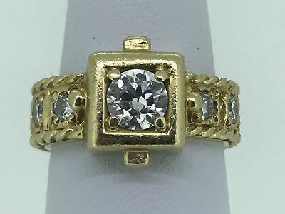 Stunning Vintage 18k Yellow Gold 1.57 Ctw VVS2 Diamond Ring With Appraisal JR