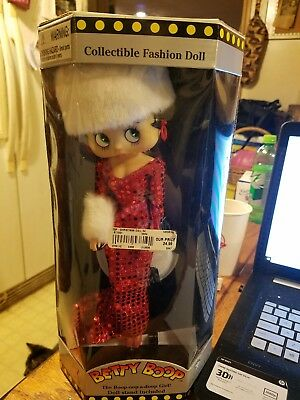 """Betty Boop Hat & Muff Doll 12"""" Collectible New Fashion Doll Night Dress 11.5"""""""