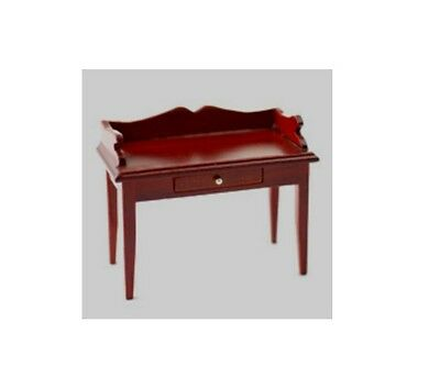 Dolls House Furniture: Wooden Side Table / Desk  in mahogany finish  12th scale