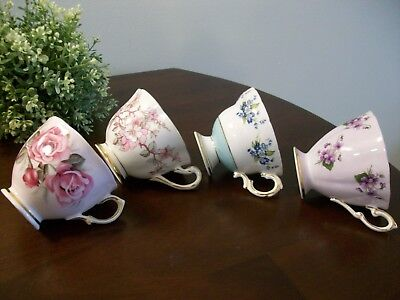 4 Lovely Vintage Rosina Colclough Royal Standard Chelsea Bone China Tea Cups