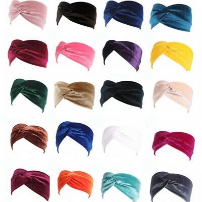 Donna Elastico Twist Turbante Fascia Capelli Largo Accessori per