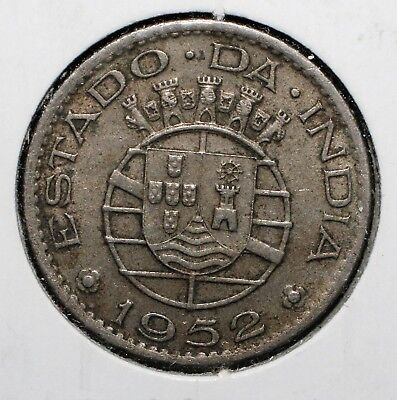 1952 Portuguese India 1/2 Rupia Copp-Nick Coin Y-28 - 01803