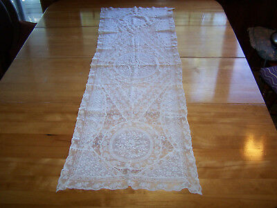 Victorian Net Lace Runner With Lovely Embroidery 51 X 51