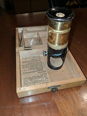 Antique Brilliant Extra Microscope Travel Field Kit Cased Built in Stand