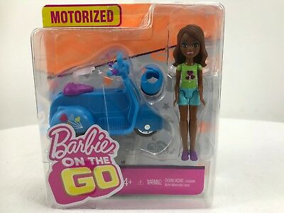 "Barbie On The Go Blue Scooter and Doll 4"" TALL"