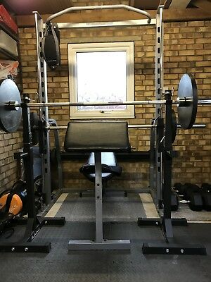 Olympic Weights And Bar, Smith Machine, Weight Bench And Squat Stands.