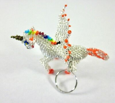 Huichol Beaded Keychain Art Mexican Handmade Folk Art Unicorn Keyring Clear