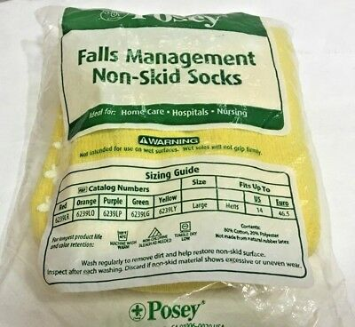 Posey Falls Management Socks I Pair Large Yellow 6239LY non skid  new sealed
