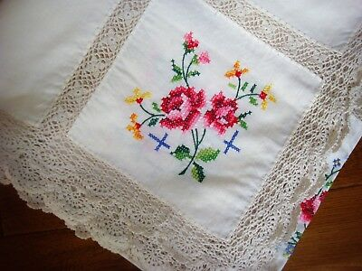 Lace insert pretty embroidered tablecloth