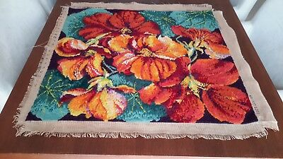 Tapestry  long stitch Wall Panel Elian McCready COMPLETED Nasturtiums