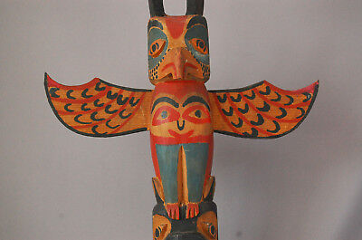 Tlingit Native American Totem Pole Thunderbird Beaver Cedar Wood Painted EARLY *