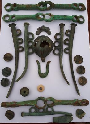 Bronze age collection.Horse harness Metal detector finds 100% original