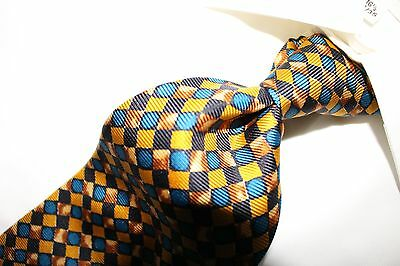 "HUGO BOSS ""MADE IN ITALY""  Gold, Blue and Brown Geometric Silk Tie"
