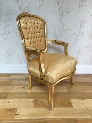 French Louis style Shabby Chic Gold Silk Demask chair with Gold wooden frame