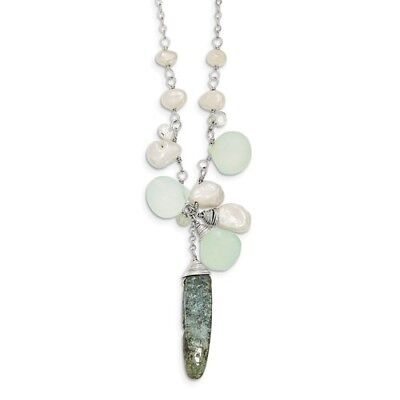 Sterling Silver Synthetic 16in Aquamarine/Kyanite/White FWC Pearl Necklace