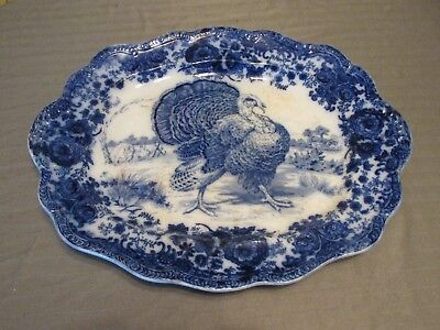 Antique Beautiful Flow Blue RIDGEWAYS England RARE Tom TURKEY Large Platter