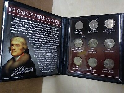 100 Years of American Nickels 9 Coin Set
