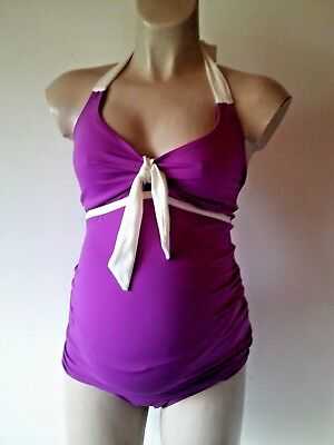 Asos Maternity Purple & White Tankini Swimsuit Size 12