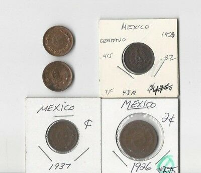 Mexico. Vintage Lot Of 5 Old Assorted Mexican Coins. See Pics
