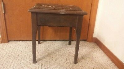 Antique shoe shine bench stand original finish. 16 inches tall.