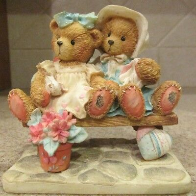 "NIB Cherished Teddies 1992 TRACIE AND NICOLE ""Side By Side With Friends"" #911372"