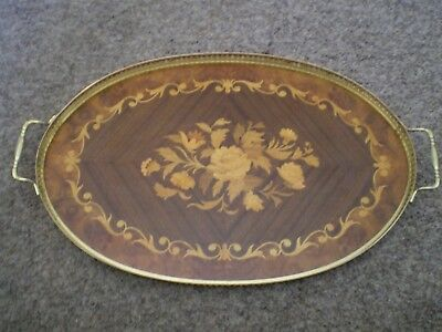 Vintage Italian Exotic Burl wood inlaid servicing tray..12x22 inches.