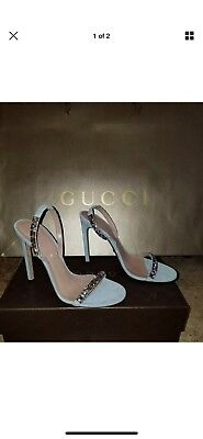 ddc6a7b32 GUCCI SHOES MALLORY Crystal Embellished Suede Leather Sandals $850 ...