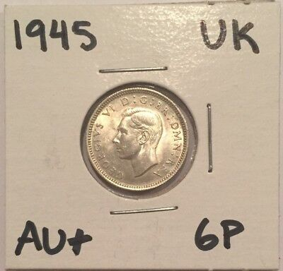1945 Great Britain 6Pence AU+