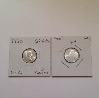 Canada 10 Cents Silver Coins Lot Of Two 1960 & 1966 Uncirculated