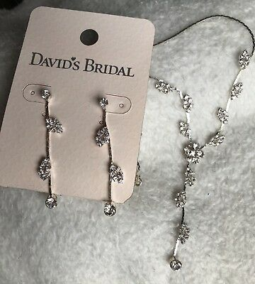 Davids Bridal Earring And Necklace Dangle Rhinestone Wedding, Prom, Formal,
