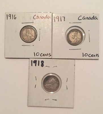 Canada 10 Cents Lot of 3 Silver Coins 1916, 1917, 1918