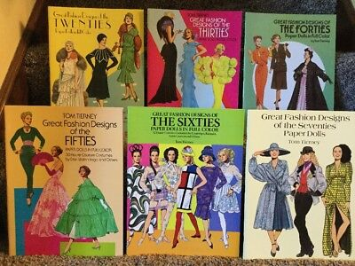 PAPERDOLLS LOT OF 6 UNCUT BY TOM TIERNEY GREAT FASHIONS 20's,30's,40's,50's,60's