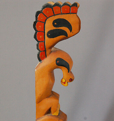 Nootka Northwest Coast Totem Pole Carved Painted 3 Figures Grizzly BEAR Shaman *