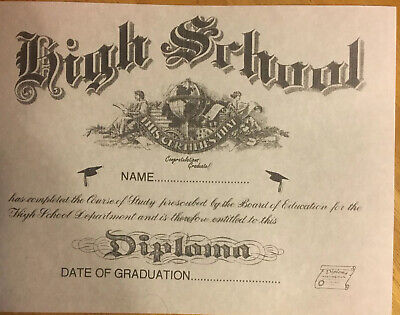 High School Diploma , Comes Blank, Fill In Your Own Info . + Free Report Card