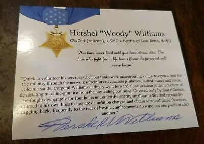 Hershel Woody Williams Medal of Honor recipient signed autographed photo WW2