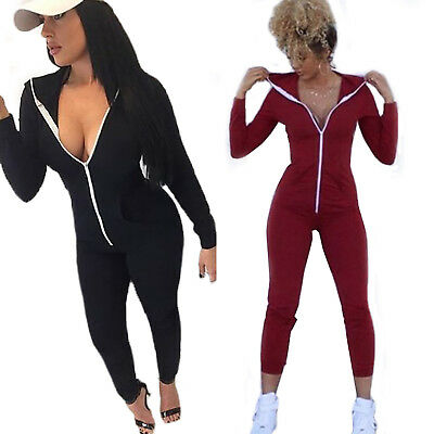 Womens Ladies Sports Romper Jumpsuit Long Sleeve Zipper V-Neck Bodysuit Catsuit